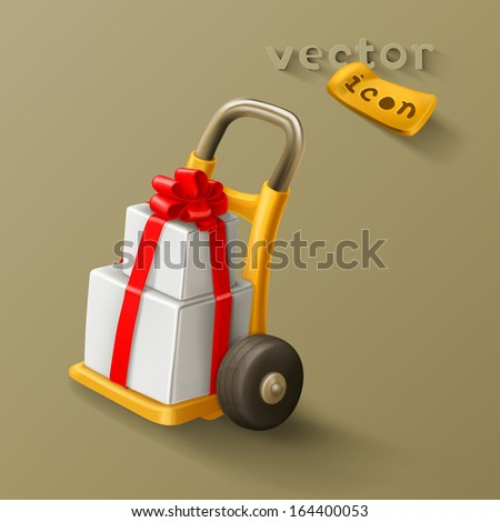 Gift on hand truck icon - stock vector