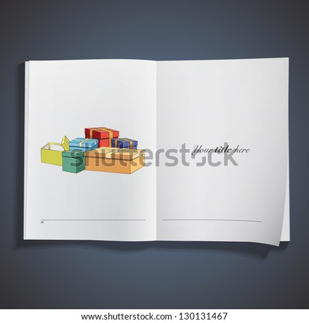 Gift printed on book. Vector design. - stock vector