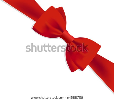 Gift red bow - stock vector