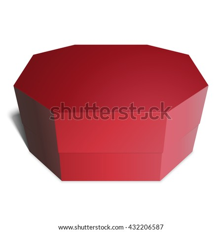 Gift red box octagonal, candy, gifts or food. Template for your design. Isolated on white background. - stock vector
