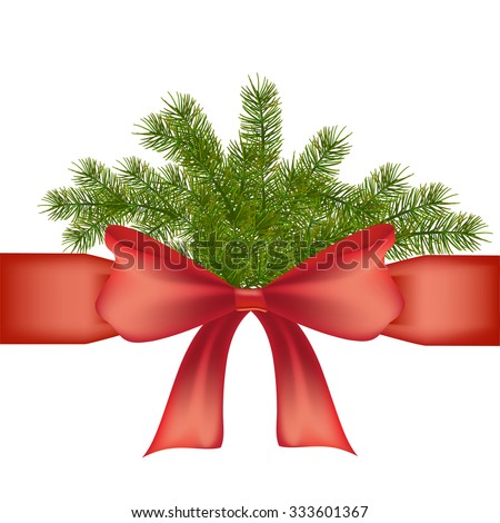Gift ribbon with bow and Christmas tree branches and with free space for text, isolated on white background. Happy New Year and Merry Christmas. Ready template for your designer projects. Vector - stock vector