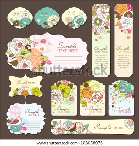 gift tags/greeting cards design with floral theme - stock vector