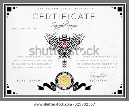 Gift vintage certificate / diploma / award border template of course completion on dotted white paper with black celtic pattern and frame in vector - stock vector