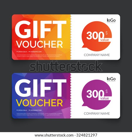 Gift voucher market offer template layout with colorful modern triangle business design. Certificate special discount buy coupon  - stock vector