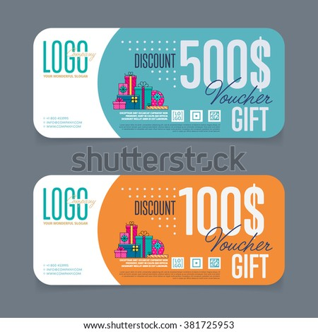 Gift voucher template. Discount voucher. Gift certificate. Two side of gift voucher. Gift coupon template. Vector voucher template, discount coupon. Special offer. Layout voucher to buy. Market offer. - stock vector