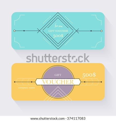 Gift voucher template. Gift certificate. Background design gift coupon, voucher, certificate, invitation, currency. Collection gift certificate. Vector illustration. - stock vector