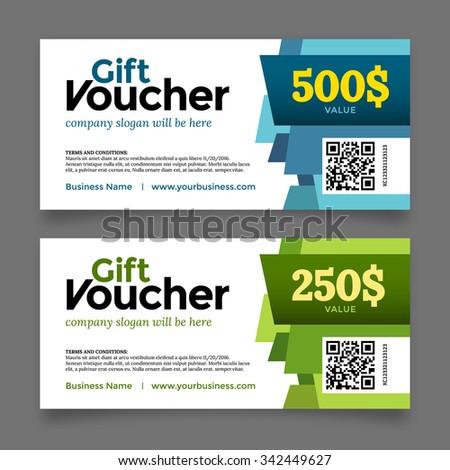 Gift voucher template, premium certificate coupon, vector graphic design - stock vector