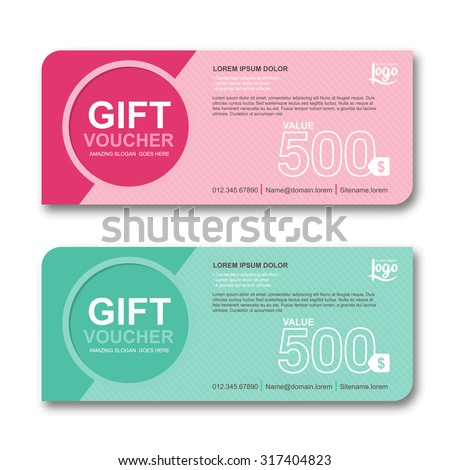 Gift voucher template with colorful pattern, cute gift voucher certificate coupon design template, Collection gift certificate business card banner calling card poster, Vector illustration - stock vector