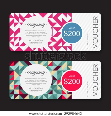 gift Voucher template with geometric colorful pattern. - stock vector