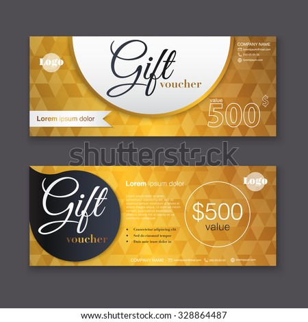 Gift voucher template with gold pattern, certificate. Background design coupon, invitation, currency. Vector illustration. - stock vector