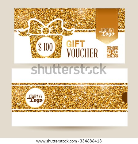 Gift voucher template with luxury gold glitter texture pattern and envelope design. White background. Vector illustration. - stock vector