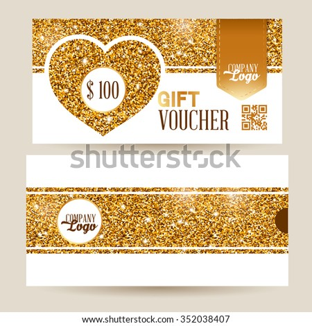 Gift voucher template with luxury gold glitter texture pattern, heart shape and envelope design. White background. May be used as gift for Valentines Day. Vector illustration. - stock vector