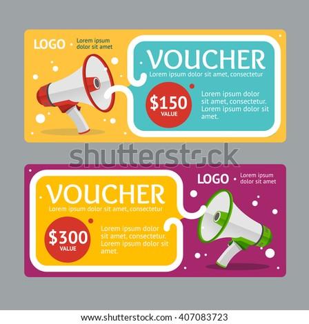 Gift Voucher Template with Megaphone. Vector illustration - stock vector