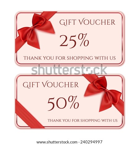 Gift voucher template with red ribbon and a bow. Vector illustration - stock vector