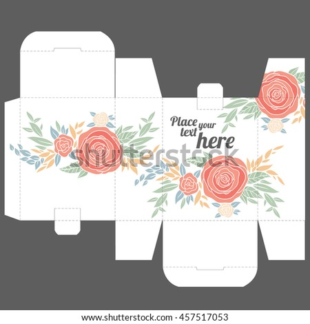 Wedding Favor Gift Box Template : Gift wedding favor box template with nature pattern - stock vector