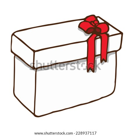 Gift white isolated boxes contour with red bow eps8 - stock vector