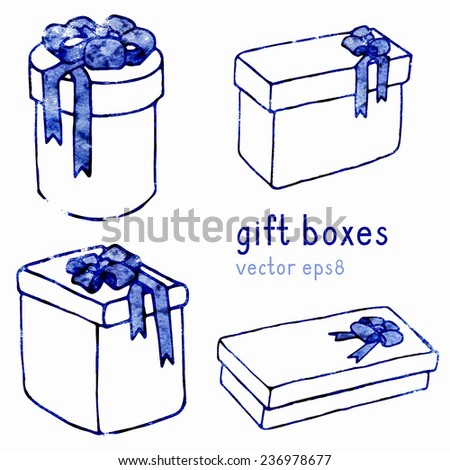 Gift white isolated boxes watercolor contour with bow, eps8. - stock vector