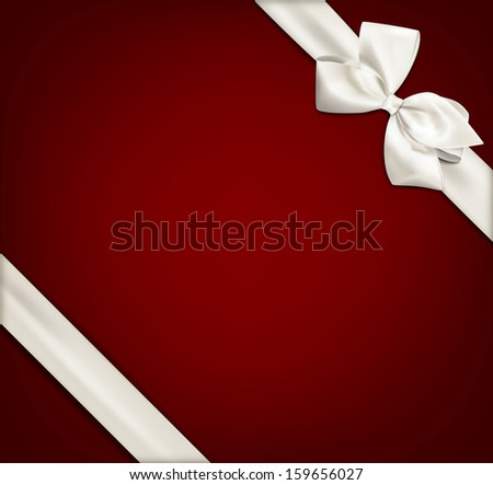 Gift white ribbon with bow over red background. Vector illustration.  - stock vector