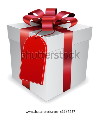 gift with tag - stock vector