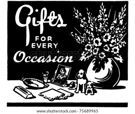 Gifts For Every Occasion - Retro Ad Art Banner - stock vector