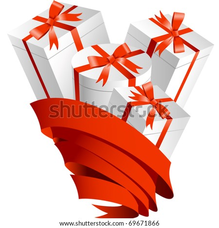 Gifts in ribbon - stock vector