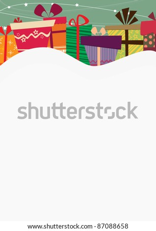 Gifts on the snow - stock vector
