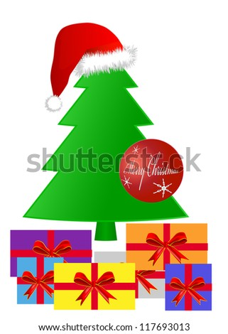 Gifts under a Christmas tree, eps 10 vector - stock vector
