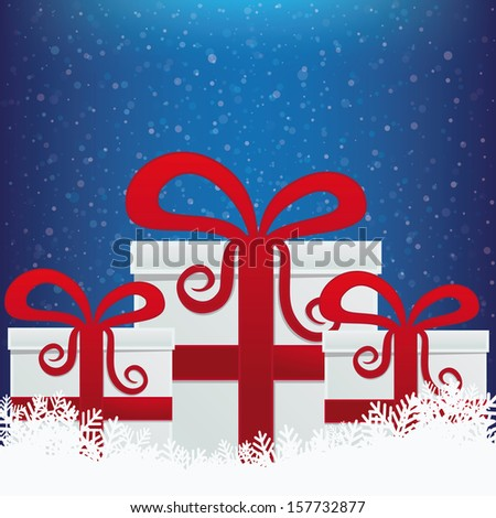 gifts winter snowy background - stock vector