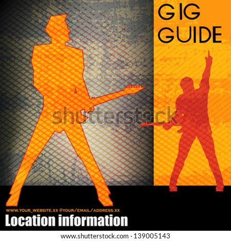 Gig Guide, Vector Background Illustration for Guitar Based Concerts and Music - stock vector