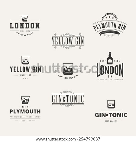 Gin Hipster Logo design vector typography lettering templates.  Pub Bar Retro Vintage Labels - stock vector
