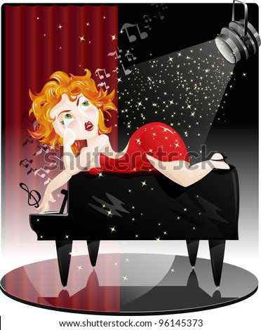 Ginger woman in a red dress singing on a piano, EPS10 - stock vector