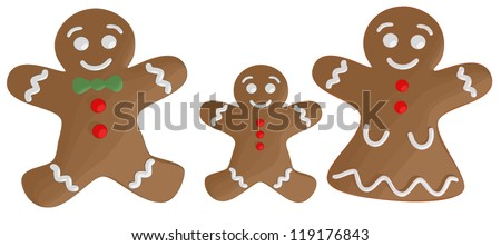 Gingerbread Family - stock vector