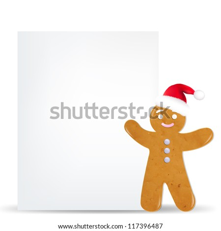 Gingerbread Man And Blank Gift Tag With Gradient Mesh, Vector Illustration - stock vector