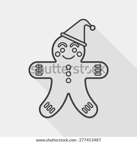 gingerbread man flat icon with long shadow, line icon - stock vector