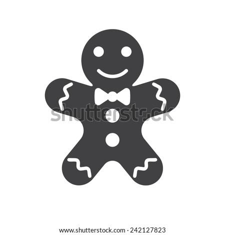 Gingerbread man icon (flat design) - stock vector