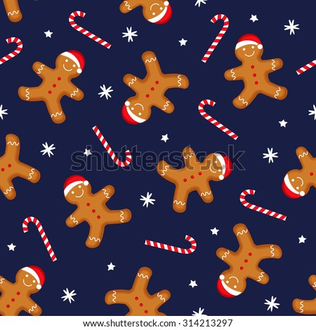 Gingerbread man is decorated in xmas hat and candy cane on dark blue background. Seamless vector pattern for new year's day, christmas, winter holiday, cooking, new year's eve. Cute xmas background. - stock vector