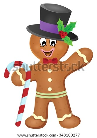 Gingerbread man theme image 3 - eps10 vector illustration. - stock vector