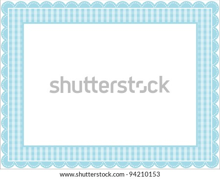 Gingham Frame - Gingham patterned frame with scalloped border - stock vector