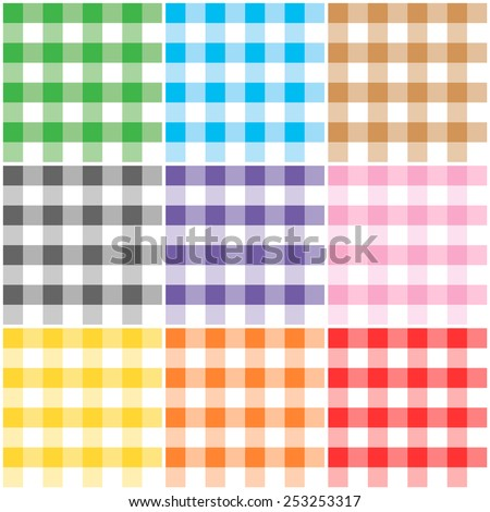 Gingham patterns / textures in different colors for Thanksgiving, home decorating, napkins, tablecloths, picnics. arts, crafts and scrap books. - stock vector