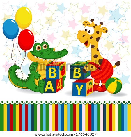 giraffe and crocodile baby blocks -  vector  illustration - stock vector