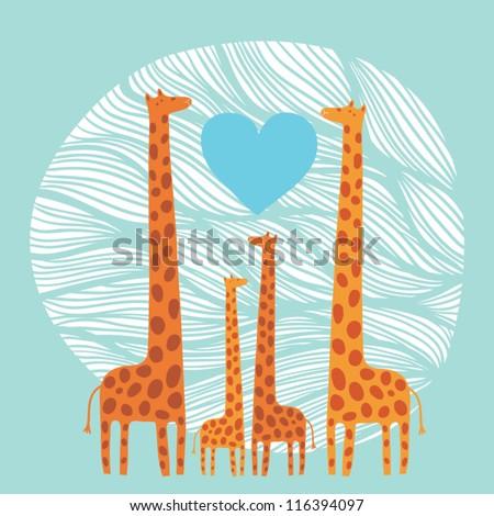 giraffe family - stock vector