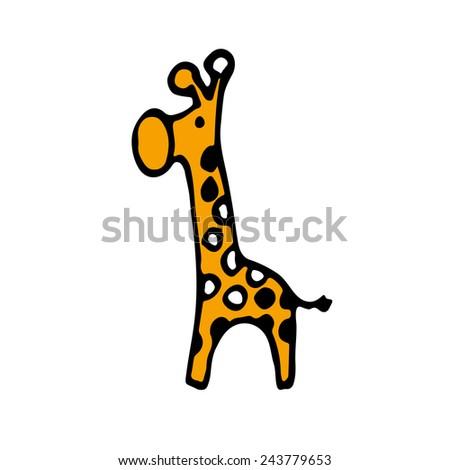 Giraffe kid icon. Drawing. - stock vector