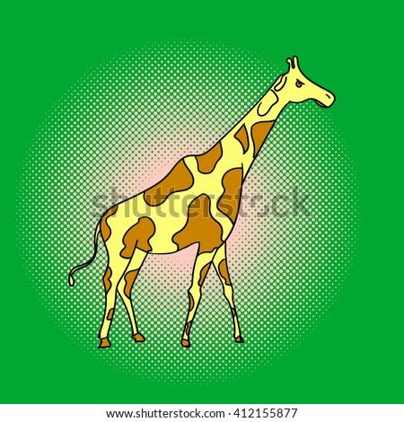 Giraffe pop art vector. Beautiful adult Giraffe looking at us, illustration isolated on white - stock vector