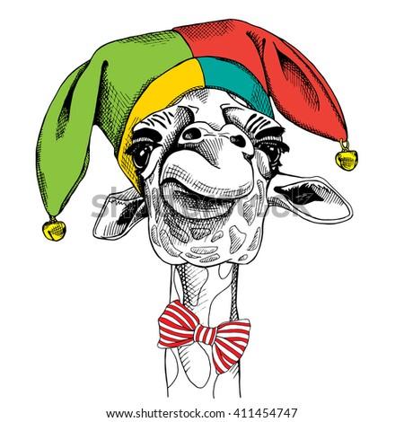 Giraffe portrait in a fool's hat. Vector illustration. - stock vector