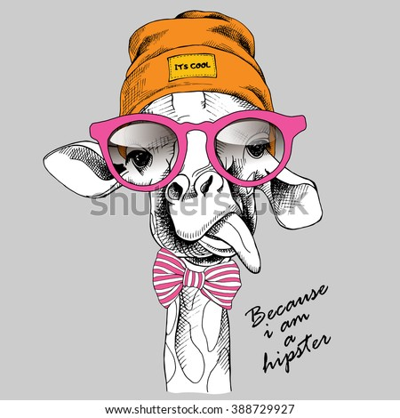 Giraffe portrait in a Hipster Hat and with glasses. Vector illustration. - stock vector