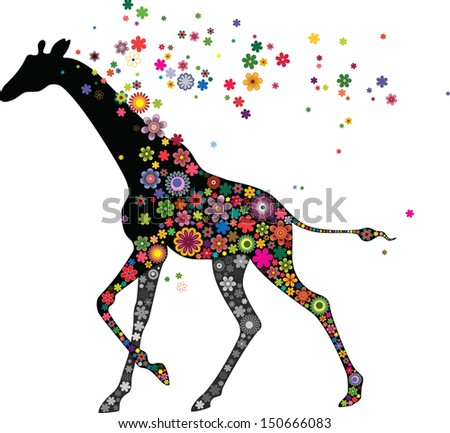Giraffe running - stock vector