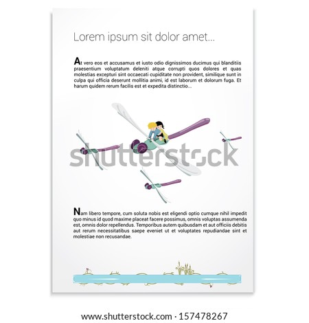 Girl and boy are flying / riding on the back of a dragonfly  on a scalable eps10 vector graphics illustration  on a sample paper background sheet in a colorful cartoon style, layout for universal use - stock vector