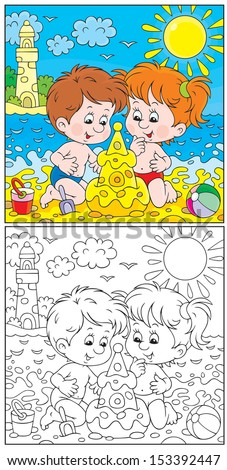 Girl and boy building a sand castle on a beach, color and black-and-white outline illustrations - stock vector