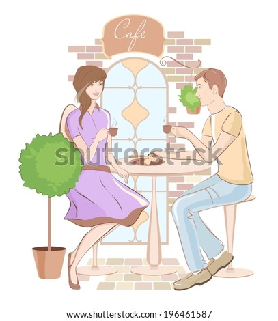 Girl and boy chatting at a cafe. Retro style. Vector - stock vector