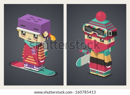 girl and boy isometric character, vector background - stock vector